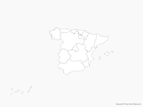 Free Vector Map of Spain with Regions - Outline