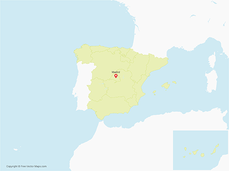 Free Vector Map of Spain with Regions