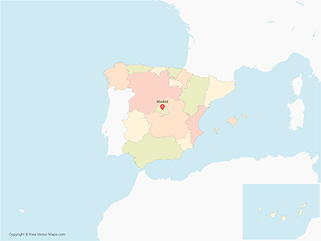 Map Of Spain With Regions.Vector Map Of Spain With Regions Multicolor Free Vector Maps