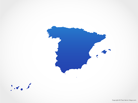 Free Vector Map of Spain - Blue