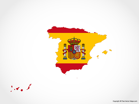 Free Vector Map of Spain - Flag