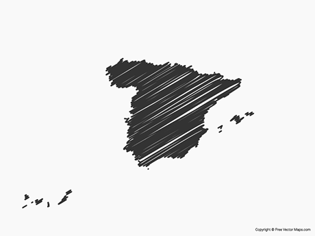 Free Vector Map of Spain - Sketch
