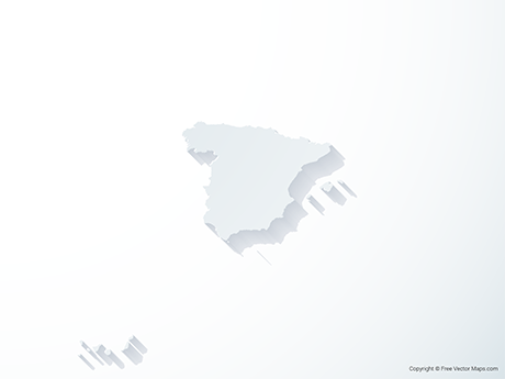 Free Vector Map of Spain - 3D