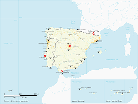 Vector Map of Iberian Peninsula with Regions