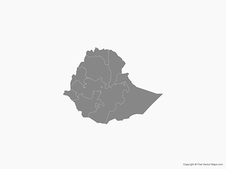 Free Vector Map of Ethiopia with States - Single Color