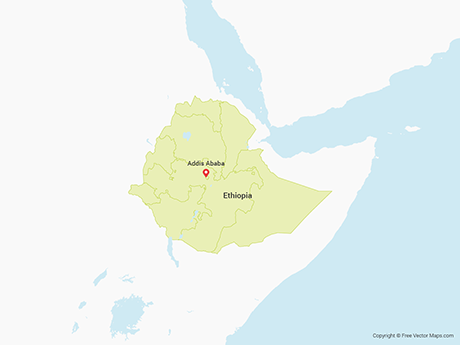 Free Vector Map of Ethiopia with States