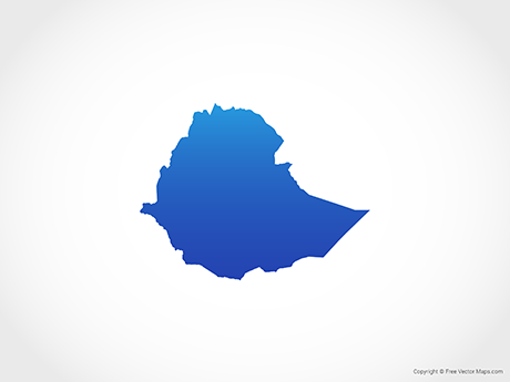 Free Vector Map of Ethiopia - Blue