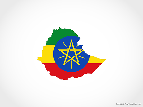 Free Vector Map of Ethiopia - Flag