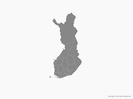 Free Vector Map of Finland with Regions - Single Color