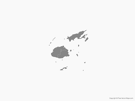 Free Vector Map of Fiji with Administrative Divisions - Single Color