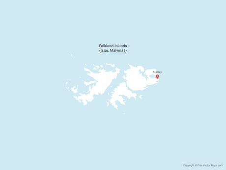 Free Vector Map of Falkland Islands (Islas Malvinas)
