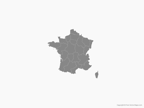 Free Vector Map of France with Regions - Single Color