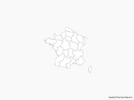Free Vector Map of France with Regions - Outline