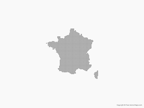 Free Vector Map of France - Dots