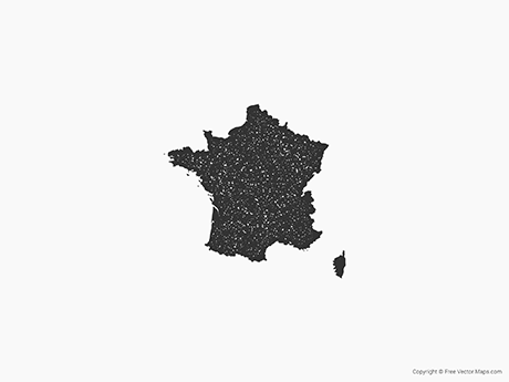 Free Vector Map of France - Stamp