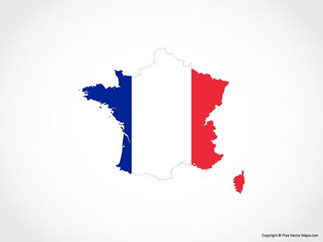 Map of France - Flag
