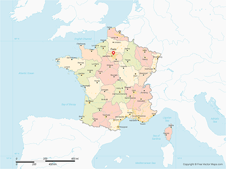 Vector Map of France with Regions - Multicolor