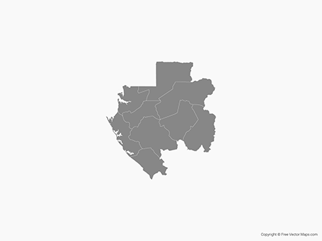 Free Vector Map of Gabon with Departments - Single Color