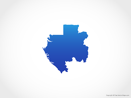 Free Vector Map of Gabon - Blue