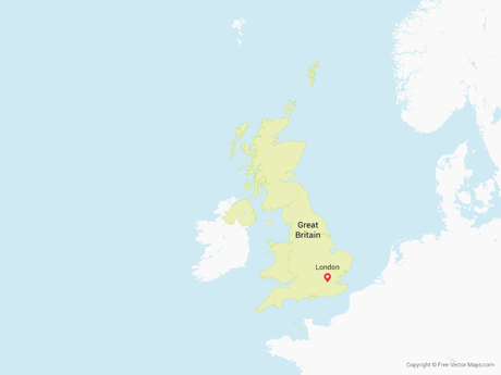 Free Vector Map of Great Britain with Countries