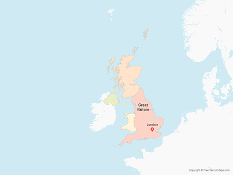 Free Vector Map of United Kingdom with Countries - Multicolor