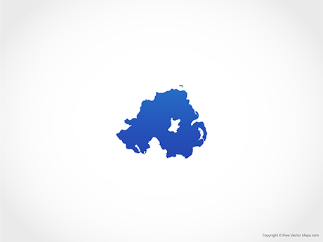 Free Vector Map of Northern Ireland - Blue