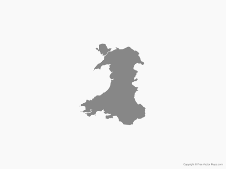 Free Vector Map of Wales - Single Color