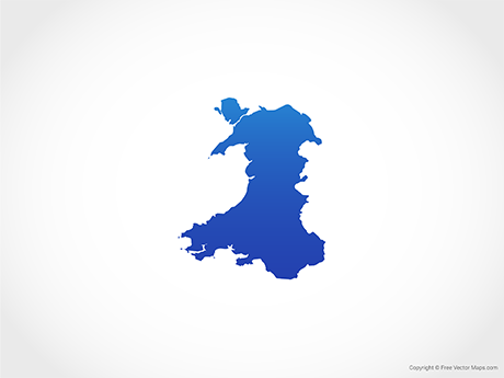 Free Vector Map of Wales - Blue