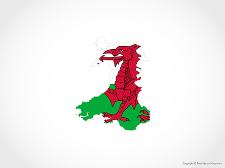 Free Vector Map of Wales - Flag