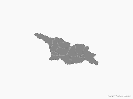 Free Vector Map of Georgia with Administrative Divisions - Single Color