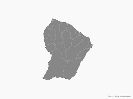 Free Vector Map of French Guiana with Communes - Single Color
