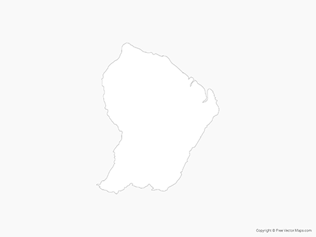 Free Vector Map of French Guiana - Outline