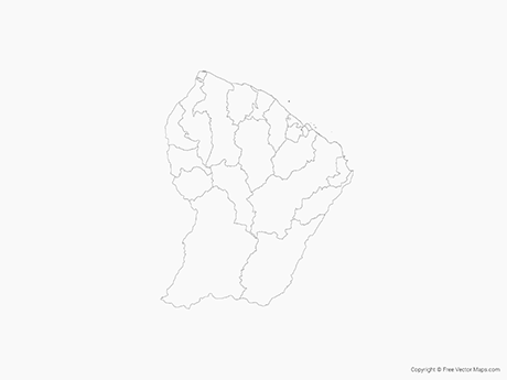 Free Vector Map of French Guiana with Communes - Outline
