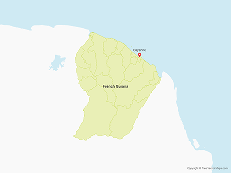 Free Vector Map of French Guiana with Communes