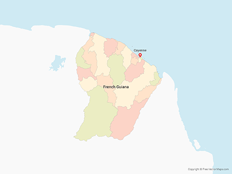 Free Vector Map of French Guiana with Communes - Multicolor