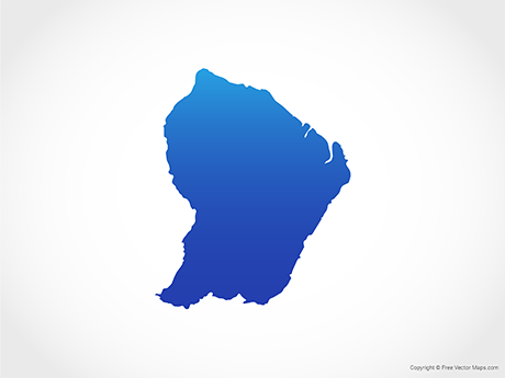 Free Vector Map of French Guiana - Blue