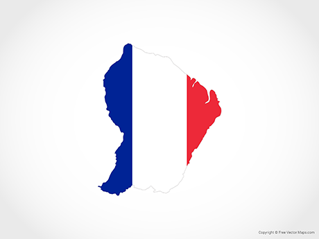 Free Vector Map of French Guiana - Flag