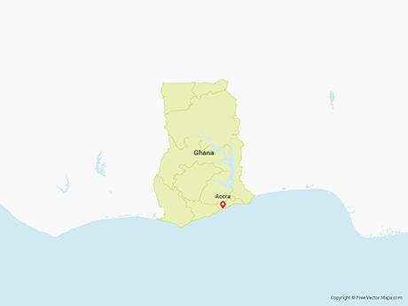 Free Vector Map of Ghana with Regions