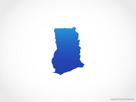 Free Vector Map of Ghana - Blue