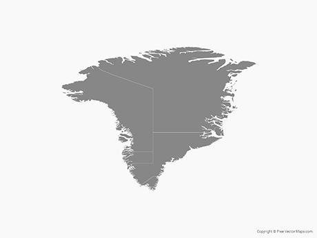 Free Vector Map of Greenland with Regions - Single Color