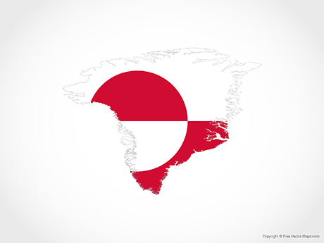 Map of Greenland - Flag