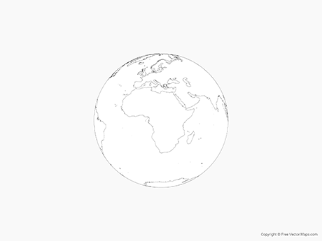 Free Vector Map of Globe of Africa - Outline