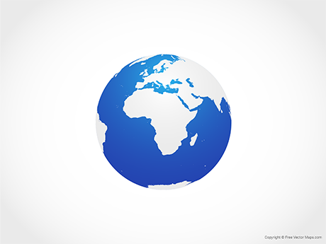 Free Vector Map of Globe of Africa - Blue
