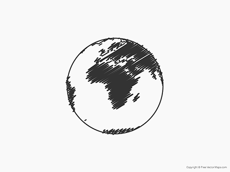 Free Vector Map of Globe of Africa - Sketch