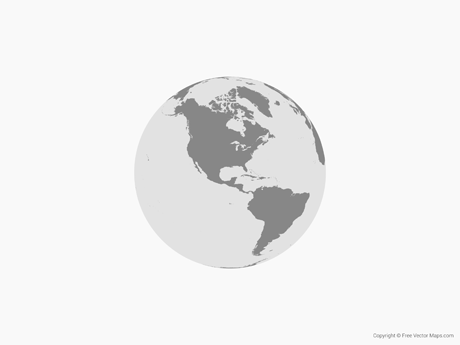Free Vector Map of Globe of Americas - Single Color
