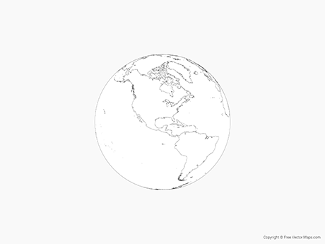 Free Vector Map of Globe of Americas - Outline