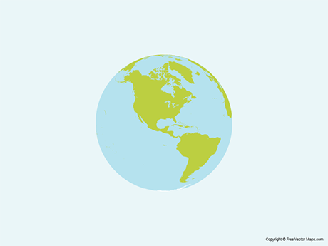 Free Vector Map of Globe of Americas