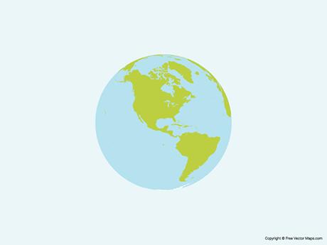 Map of Globe of Americas