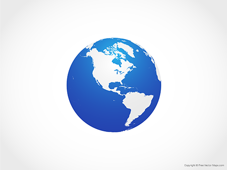Free Vector Map of Globe of Americas - Blue