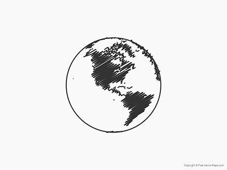Free Vector Map of Globe of Americas - Sketch